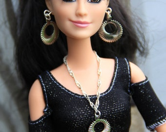 Silver Circle Drop Necklace & Earrings Doll Jewelry Set fits Fashion Dolls 1/6th Scale 11 1/2 - 12 inch dolls
