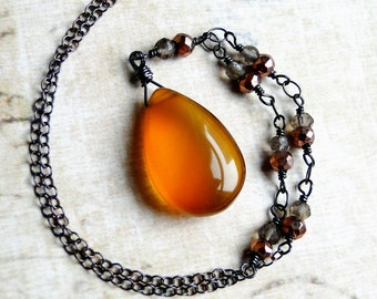 Amber Chalcedony Necklace with Gemstones on Oxidized Sterling Silver - Cider by CircesHouse on Etsy