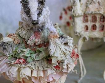 A badger girl and her desk Dollhouse inspired by La Comtesse de Ségur