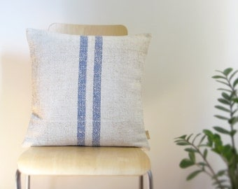 REVERSIBLE Med BLUE Stripe PILLOW Hemp & Cotton Vintage Grain Sack—Square 20x20—Green Home Decor, Wedding Registry [Coussin Sac/Cojín Saco]