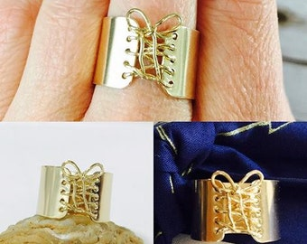 Handmade Ring, 14K Gold ring, Wide Band Ring, Corset Ring, Statement Ring
