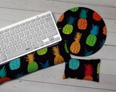 pineapples Keyboard rest and or WRIST REST  MousePad set  - black coworker gift - office Desk Accessories