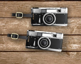 Personalized Luggage Tags Black Retro Camera Metal Tag Set , Personalized Information on Back, 2 Tags with Choice of Straps