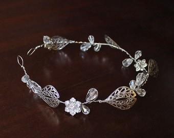 Nicolette Bridal Leaf Wreath, Bridal Leaf Crown, Bohemian Bridal Headpiece, Bridal Hair Vine, Bridal Leaf Halo, Boho Wedding Head Jewelry