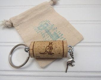 Kangaroo Keychain in Gift Bag, Wine Cork Graphics match Kanga Charm!