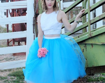 Blue and White Tulle Wedding Skirt - Bride or Bridesmaid