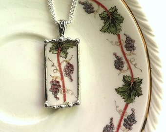 Broken china jewelry rectangular pendant necklace antique grapes grapevine vintage wine lovers