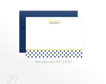 Personalized Flat Note Cards, Custom Monogrammed Stationery Set, Personal Thank You Notes, Customized Notecard set