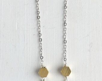 Silver & Brass Hexagon Dangle Earrings | E31625