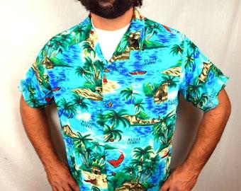Men's Vintage Hawaiian Shirt - 1970s - Island Fashions - XL