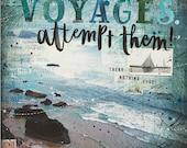 Voyages - typographic ocean word art poster - Tennessee Williams inspirational ocean word art