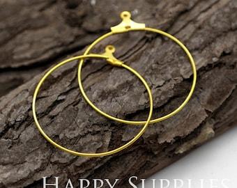 10pcs Nickel Free - Hight Quality 30mm Round Raw Brass Hoop Earrings (HE160)