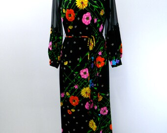 Vintage  Maxi Dress...1960s Black Floral Dance Dress...Maxi Disco Dress...Colorful Flower Party Dress...Belted...Bishop Sleeves...Size Large