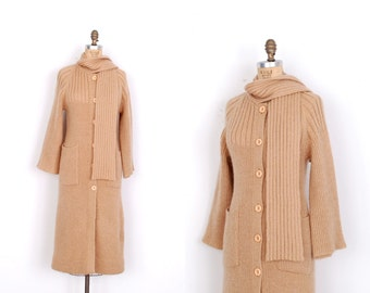 Vintage 1970s Sweater / 70s Mohair Duster Cardigan / Camel Brown (S M)