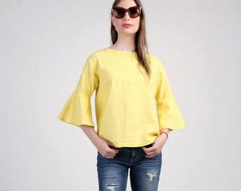Yellow Ruffle Sleeve Blouse, Ruffle Top, Loose Linen Blouse with Three Quarter Sleeve, Spring Top / Handmade Blosue - Yellow Linen