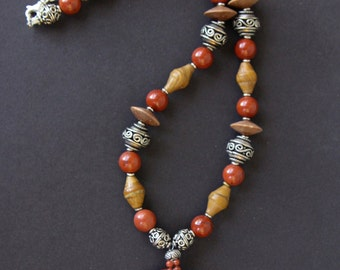 Carved Red Jasper Pelican Pendant Necklace Red Poppy Jasper Bird w Sterling Silver, Red Jasper and Brown Agate Beads Gemstone Jewelry