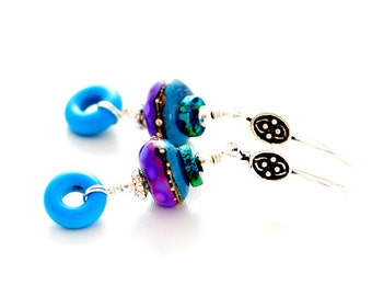 Colorful Lampwork Bead Earrings. Dangle Earrings. Boho Gypsy Glass Bead Earrings. Glass Bead Jewelry. Gifts for Her.