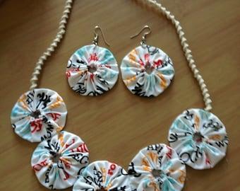 Yo Yo motif Necklace/Earrings set