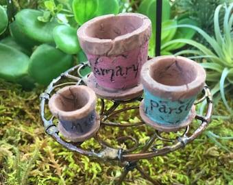 Miniature Flower Pots, Fairy Garden Accessory, Garden Decor, Miniature Gardening