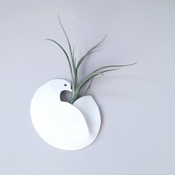 Peace DOVE porcelain wall vase ceramic bird airplant holder air-planter porcelain wall pocket indoor outdoor wall art