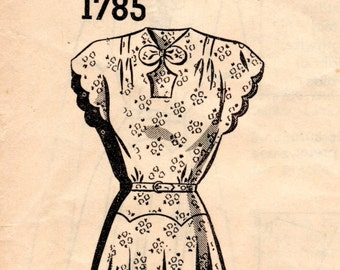 1950s Scalloped Dress with Shaped Waist - Vintage Pattern Mail Order 1785 - Bust 40