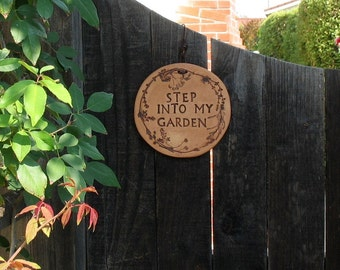 """Ceramic Wall Plaque - """"Step Into My Garden"""" - Made Using Real Plants - Medium Size Wall Hanging - Garden Decor - Nature Lover Gift"""