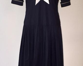 Vintage Laura Ashley Sailor Dress / Drop Waist Navy Blue Cotton Nautical / USA size 10