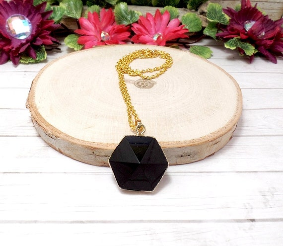 Black Agate Hexagon Necklace - Gemstone Necklace - Black & Gold - Agate Pendant - Free US Shipping