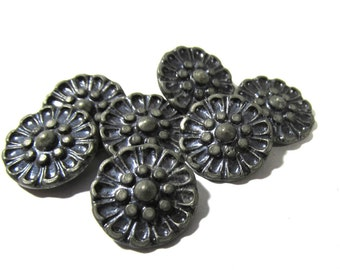 Victorian Pewter Buttons Seven (7) Antique Blue Tint Flower Faux Cut Steel Flower Victorian Buttons Vintage Jewelry Sewing Supplies (A46