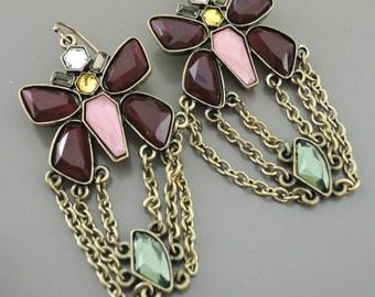 Art Deco Earrings - Statement Earrings - Butterfly Earrings - Boho Earrings - Chain Earrings - handmade