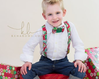 Christmas Holiday Bowtie and Suspenders, Presents, Winter, Boy Bowtie, Church Dress, 1st Christmas, Toddler, Tween