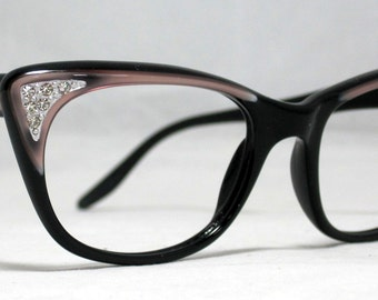 Vintage 60s Taupe and Black Square Cat Eye Glasses with Rhinestones.