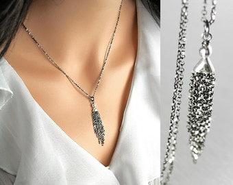 Dainty Silver Chain Tassel Necklace Black Oxidized Sterling Silver Simple Layering Necklace Delicate Tassel Pendant Everyday Jewelry