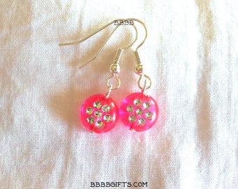 Pink Earrings Coin Drop Earrings Bright Silver Earrings Plated Surgical Steel French Hooks Octagon Dots