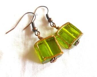 Cube Earrings Green Earrings Square Glitter Detail Antiqued Copper Lampwork Earrings Glass