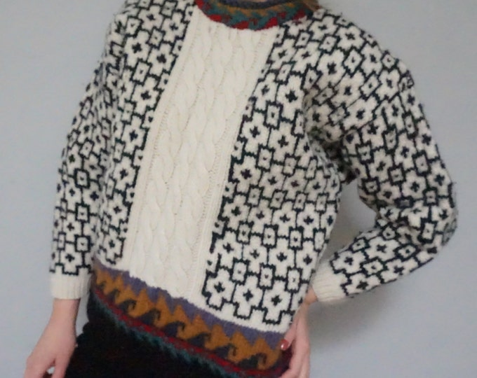 chunky cable knit geo ikat pattern print pullover vintage 80s 1980s unisex mens women long sleeve warm sweater top kitsch hipster small s