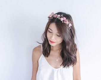 delicate rose berry leaf headband / pink / wedding bridal rustic floral headpiece pastel spring garden romantic whimsy woodland
