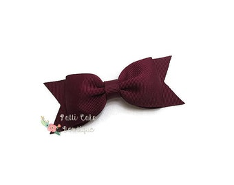 Burgundy Hair Bow/Burgundy Bow/School Uniform Hair Clip/Basic Hair Bows/Hairbows/Barrette/Girls Hair Bows/Toddler Hair Bows/Baby Bows