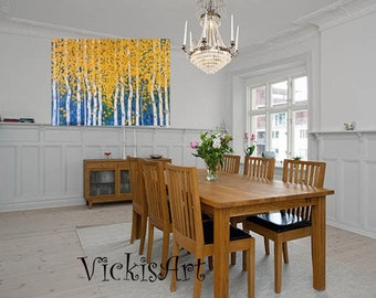 Birch Aspen Tree Extra Large Abstract Wall art Original Acrylic Painting 48 x 36 x 1 Gallery Wrapped Canvas  Ready to Ship Free Ship in US
