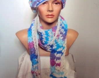 CLEARANCE SALE! Crochet Hat and Scarf Set Women Fashion Accessories Festival Fashion Gift Ideas Free Shipment