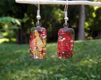 Klimt The Dancer earrings, art earrings, small glass earrings, art nouveau earrings, red floral earrings, bohemian, asymetrical