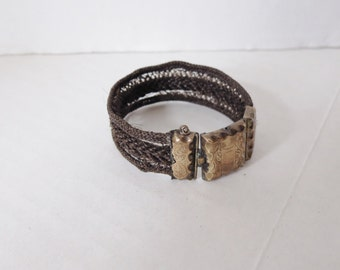 Victorian Woven Hair Mourning Bracelet with Engraved Gold Clasp