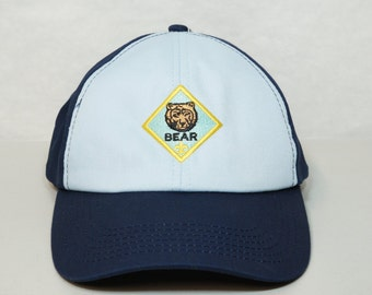 BEAR Hat Bear Scouts Cub Scouts Velcro Back Cap 2 Tone Light Blue Navy