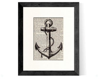 Anchor Nautical Art Print Vintage Book Page Beautifully Matted Gift Decor