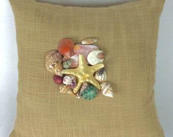 Seashell Pillow, Seashells Home Decor, Beachy Pillow, Pillow with Real Shells, Shell Pillow, Beach Cottage Decor, Beach House Decor