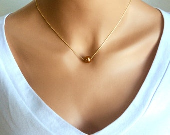 Floating Pearl Necklace In Gold Chain With 10MM Copper Swarovski Crystal Pearl