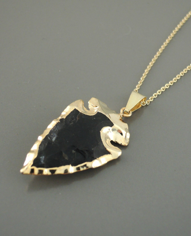arrowhead necklace black obsidian necklace gold edged