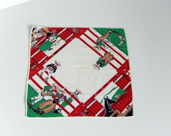 Cowboy Handkerchief Vintage Western Theme Hankie for Youth Cowboy or Cowgirl Ranch Corral Horse Stable