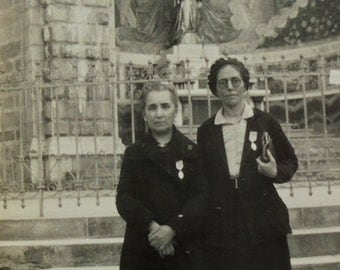 1930's Photograph - Two Women at Lourdes, France