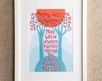 They Grew Upwards Together - romantic valentine/ anniversary/ wedding tree art - A4/A3 gicée art print in blue and orange